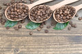 Coffee beans with leaves in spoons on wooden surface table Royalty Free Stock Photos