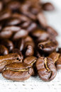 Coffee beans in a linen napkin Stock Photos