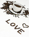 Coffee beans and love Stock Photos