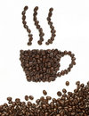 Coffee beans make coffee cup shape Royalty Free Stock Photography