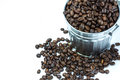 Coffee beans in metal box Royalty Free Stock Photo
