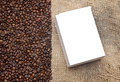 Coffee beans on old burlap Royalty Free Stock Photo