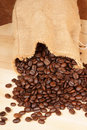 Coffee beans out of a hopsack Stock Photo