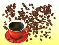 Coffee Beans and Red Cofee Cup Isolated in White Background. Royalty Free Stock Photo