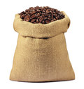 Coffee beans in a sack Stock Photography