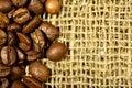 Coffee beans on sacking Royalty Free Stock Photo