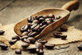 Coffee beans in scoop Royalty Free Stock Photo