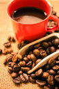Coffee beans , a scoop and coffee in a red cup Royalty Free Stock Photo