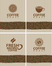 Coffee beans set of labels for Royalty Free Stock Photography
