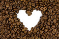 Coffee beans shows a heart shape Royalty Free Stock Photos