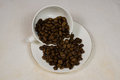 Coffee beans spilt on a white plate Royalty Free Stock Photo