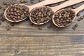 Coffee beans in spoons on wooden table wood Stock Photography