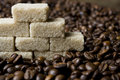 Coffee beans and sugar Royalty Free Stock Photos
