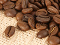 Coffee beans on textile Royalty Free Stock Photo