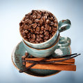 Coffee beans, vanilla and cinnamon in a blue cups Royalty Free Stock Images