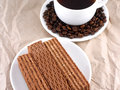 Coffee beans and waffles breakfast with Royalty Free Stock Photo