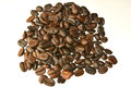 Coffee beans on a white background. Royalty Free Stock Photo