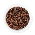 Coffee beans in white bowl Royalty Free Stock Images