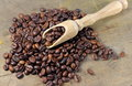 Coffee beans on wood texture soft focus Stock Photography