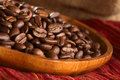 Coffee Beans on Wooden Plate Royalty Free Stock Photography