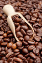 Coffee beans and wooden scoop Stock Photography