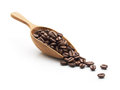 Coffee beans on wooden scoop