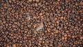 Coffee beans on a wooden table. Heart of the coffee beans