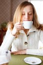 Coffee beautiful woman drinking coffee cup hot beverage coffee break Stock Images
