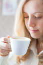 Coffee beautiful young woman holding hand cup coffee coffee time Royalty Free Stock Photography