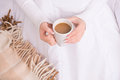 Coffee in bed woman sitting thoughtfully with Royalty Free Stock Photography