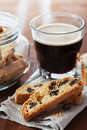 Coffee with biscotti or cantucci on wooden vintage table, traditional Italian biscuit Royalty Free Stock Photo