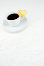 Coffee with biscuit heart cup of shaped Royalty Free Stock Photo
