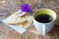Coffee and bread in the garden Stock Photography