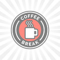 Coffee break badge with hot steaming coffee mug icon silhouette. Royalty Free Stock Photo