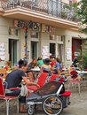 Coffee break in berlin young families enjoying at an outdoor cafe prenzlauer berg Stock Photos