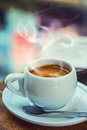 Coffee break business. Cup of coffee mobile phone and newspaper Royalty Free Stock Photo