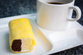 Coffee break with cake at business meeting. Royalty Free Stock Photo