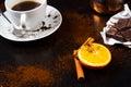 Coffee break with chocolate hot Stock Image