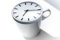 Coffee break metaphor white cup with clock ceramic modern on top Stock Image