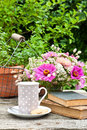 Coffee break mug old books and flowers Royalty Free Stock Images