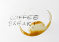 Coffee break stain circle from a cup of in time Royalty Free Stock Photos