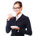 Coffee break young cheerful businesswoman having a Royalty Free Stock Photography