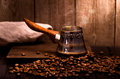 Coffee brewing pot turkish dark still life Royalty Free Stock Photos