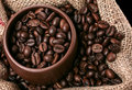 Coffee in brown cup in sack from above Royalty Free Stock Photography