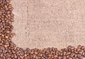 Coffee  on burlap background Royalty Free Stock Photography