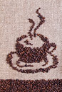 Coffee burlap sack background forming shape cup Stock Photo
