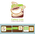 Coffee cafe business cards icon logo and Royalty Free Stock Images