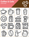 Coffee and Cafe line icons set, outline vector symbol collection, linear style pictogram pack. Royalty Free Stock Photo