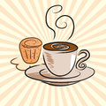 Coffee and cake animated drawings located on the ground Royalty Free Stock Image