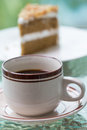Coffee and cake black chocolate with almond nut Stock Photography